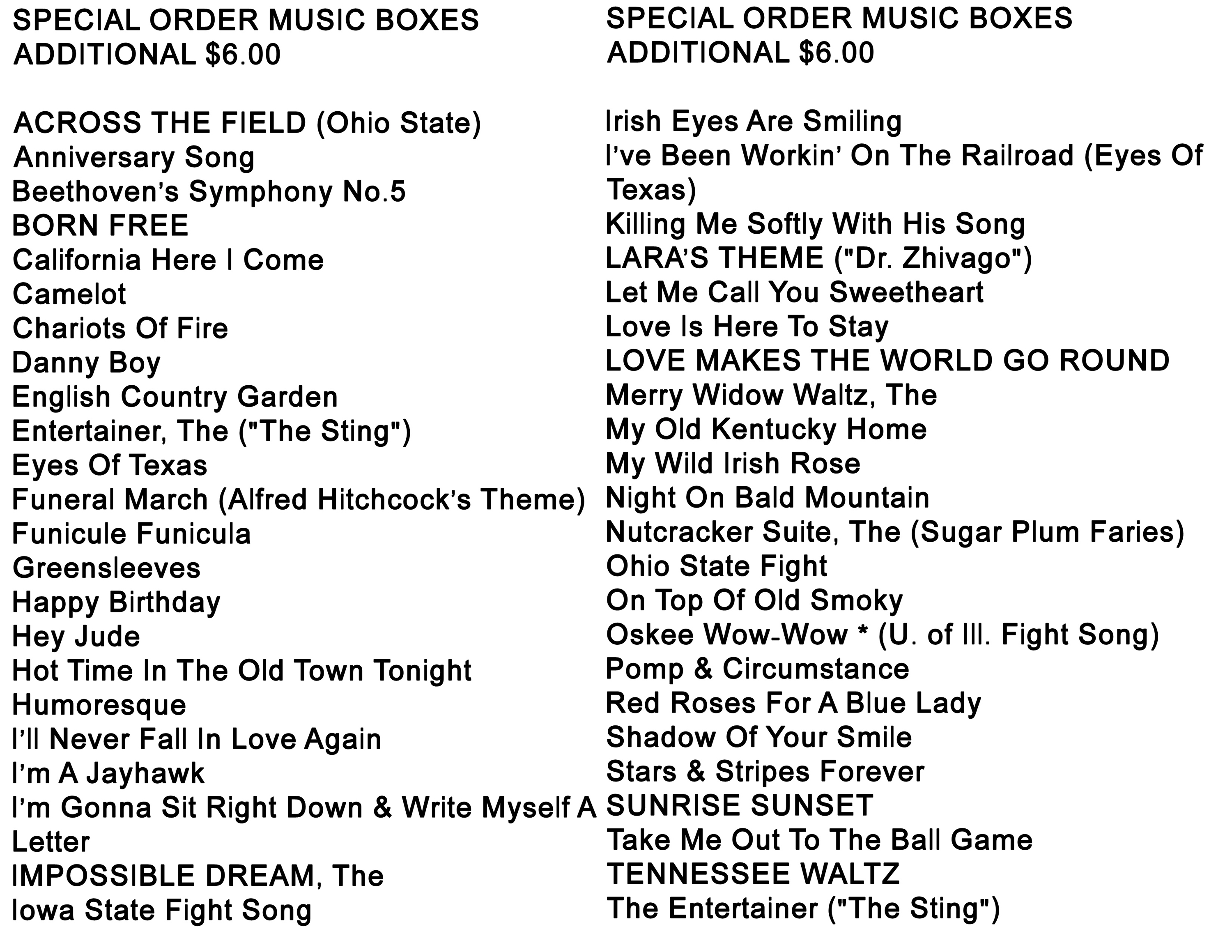 Music box melody List