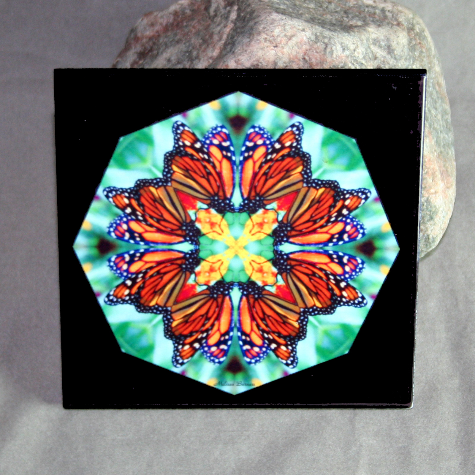 Butterfly decorative ceramic tile mandala sacred geometry decorative ceramic tile decorative dailygadgetfo Image collections