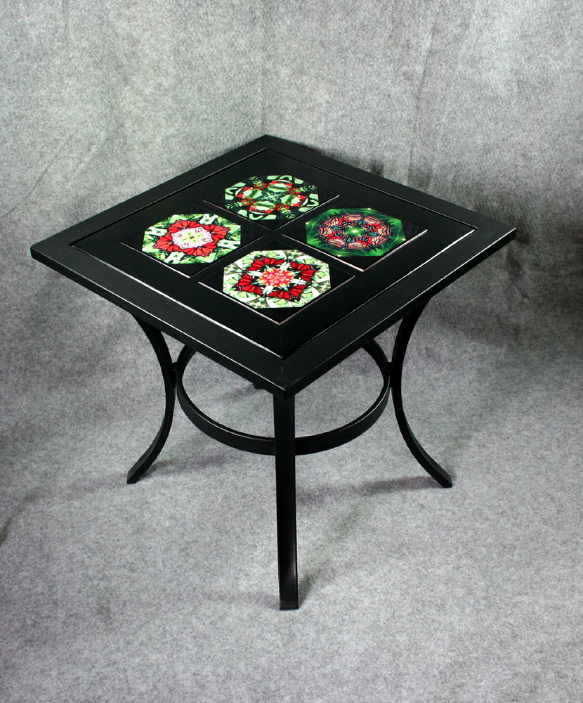Metal Accent Table Side Table Coffee Table Patio Table With Ceramic Tile Top