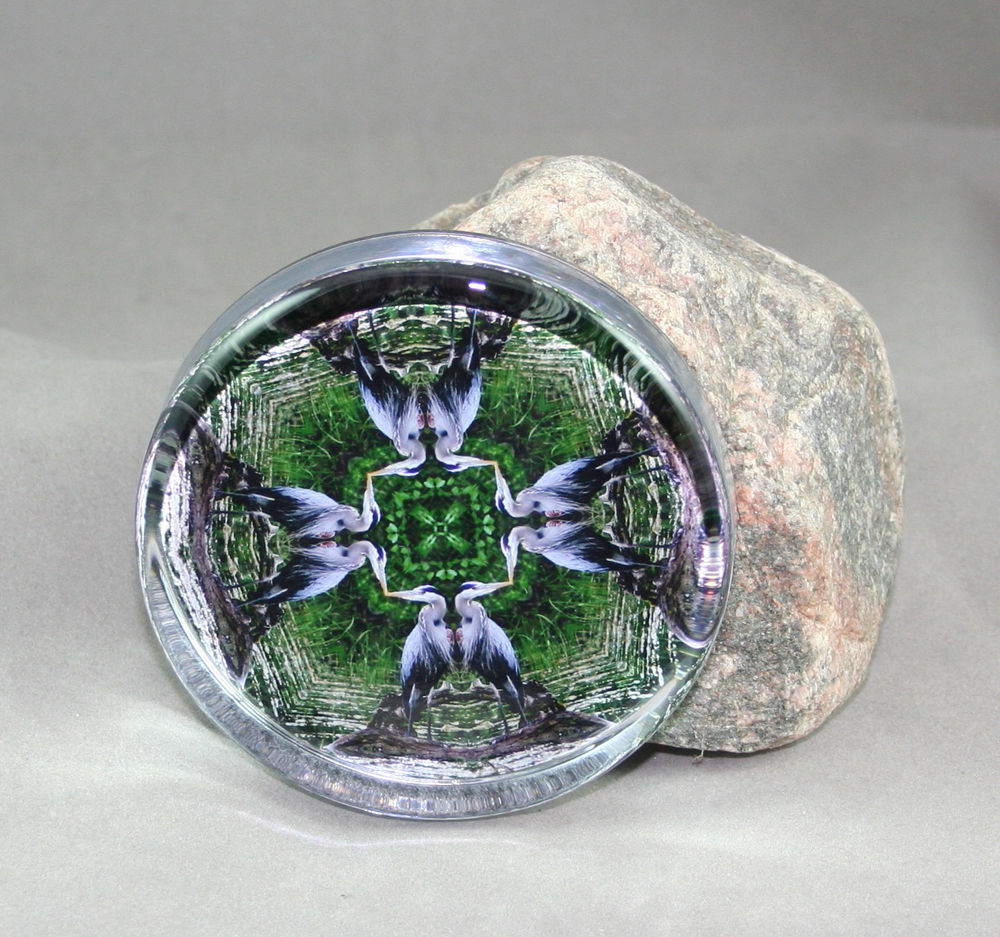 Blue Heron Glass Paperweight Sacred Geometry Mandala Kaleidoscope Bemidji Blue