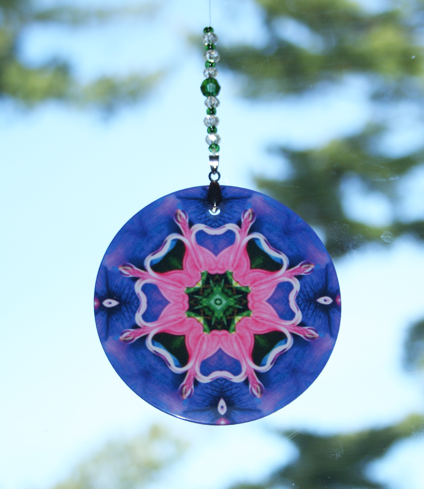 Heart Chakra Glass Suncatcher Bleeding Heart Mandala Boho Chic New Age Sacred Geometry Hippie Kaleidoscope Meditation Zen Unique Gift For Her Bewitched