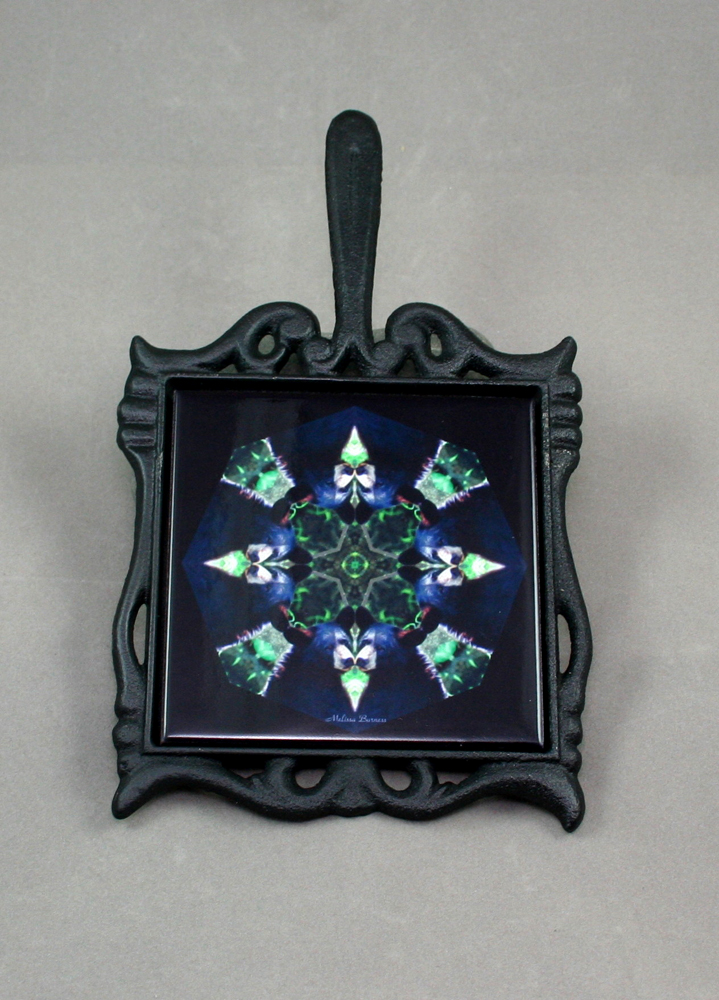 Bear Cast Iron Ceramic Tile Trivet Sacred Geometry Mandala Kaleidoscope Black Beauty