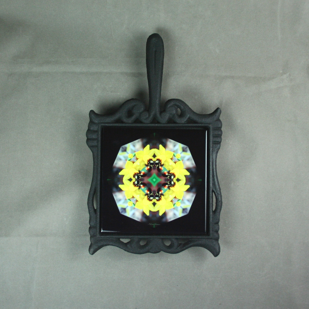 Bumble Bee Trivet Cast Iron Ceramic Tile Mandala Sacred Geometry Kaleidoscope Busy Bee