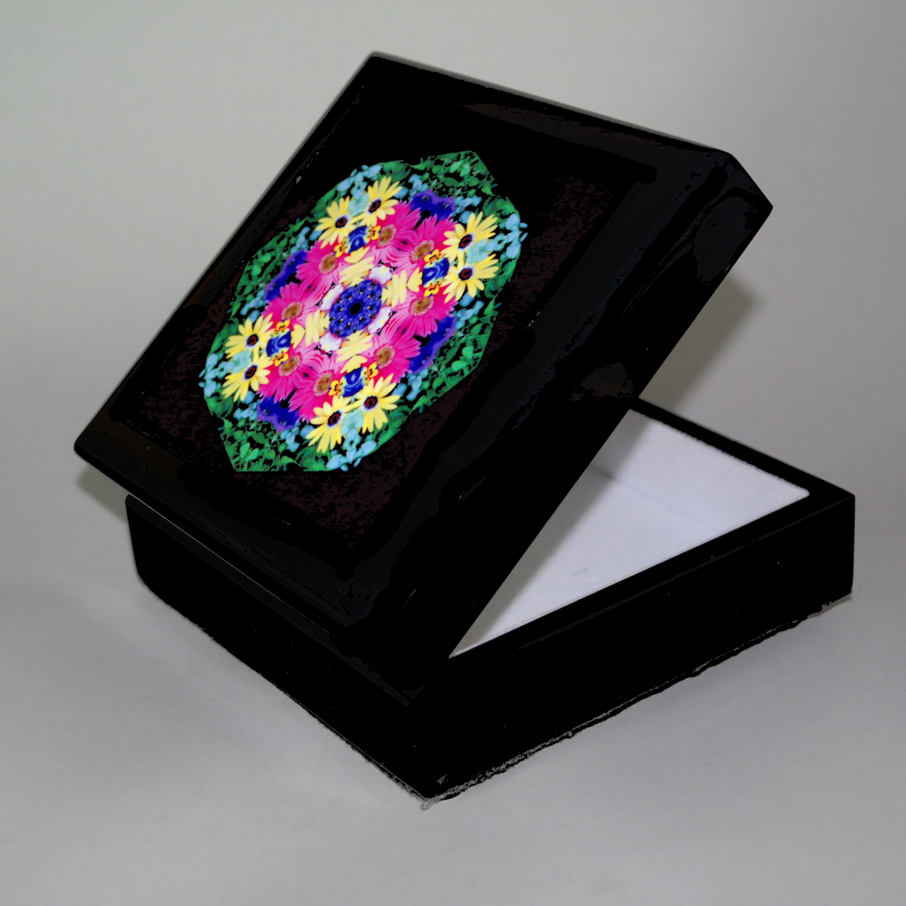Daisy Music Box With Ceramic Tile Top Boho Mandala New Age Sacred Geometry Daisy Delight