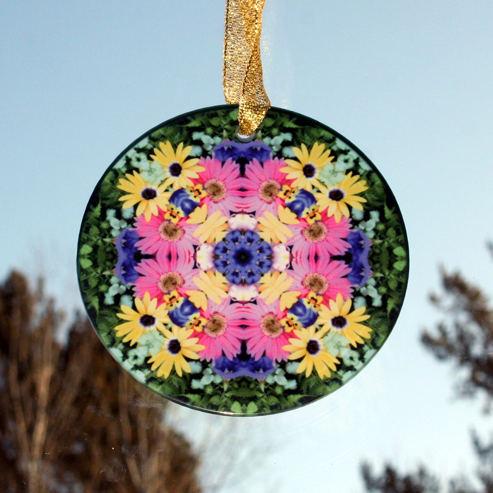 Daisy Glass Suncatcher Kaleidoscope Mandala Geometric Daisy Delight