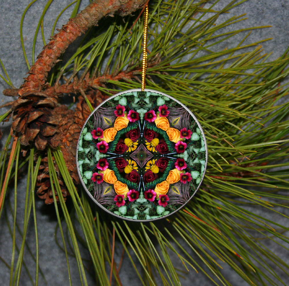 Ornament Christmas Ceramic Rose Mandala All Occasion Sacred Geometry Kaleidoscope Boho Chic New Age Bohemian Modern Unique Everlasting Love