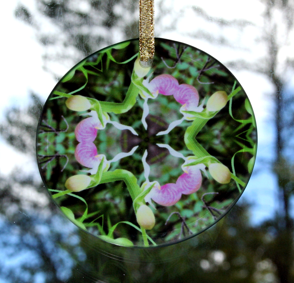 Lady Slipper Orchid Glass Suncatcher Mandala Kaleidoscope Geometric Lady in Waiting