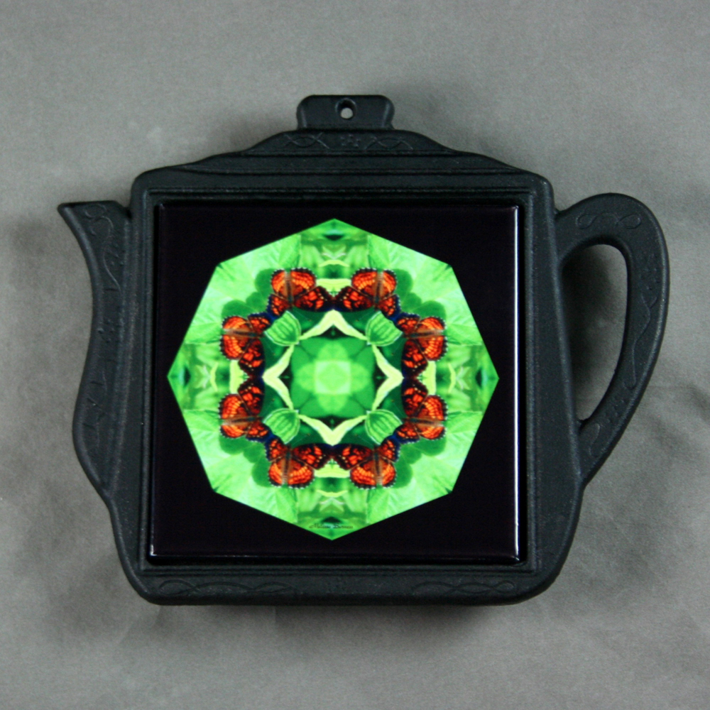 Butterfly Trivet Cast Iron Teapot Mandala Sacred Geometry Kaleidoscope On a Wing and a Prayer