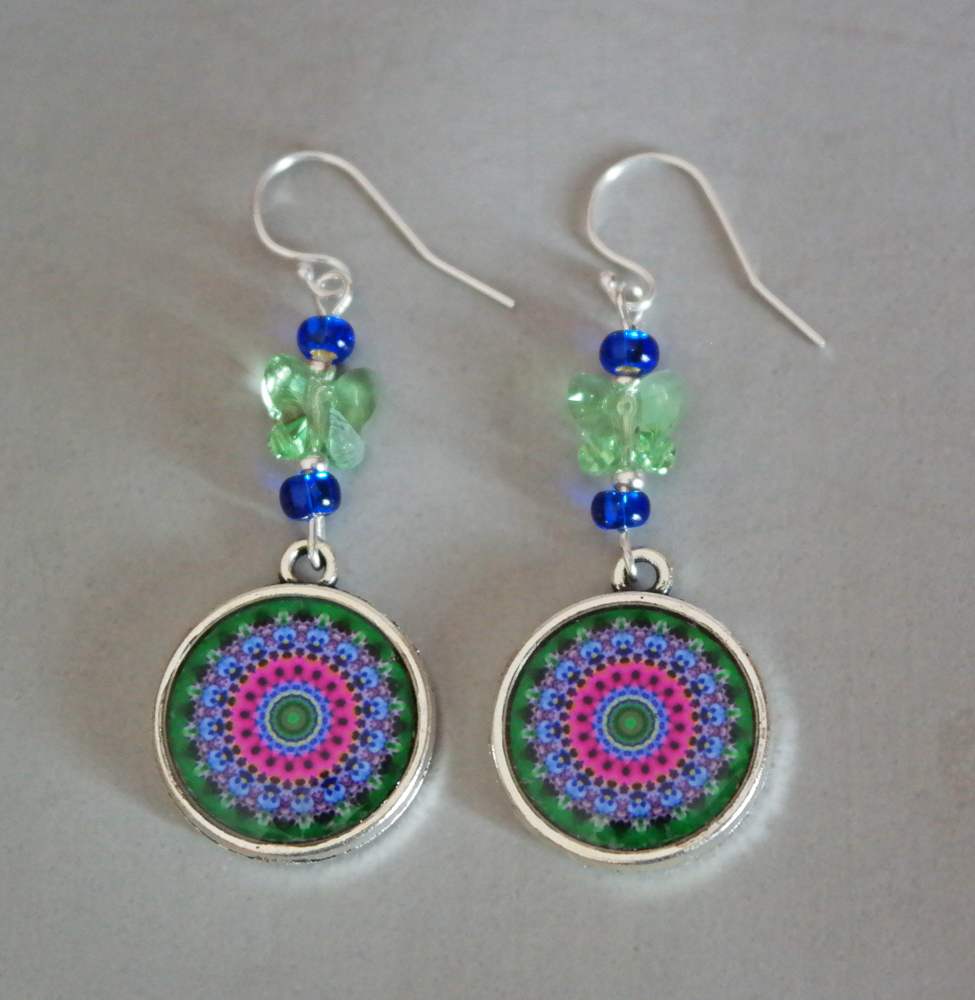 Pansy Mandala Earrings Petite Boho Chic Sacred Geometry Zen Hippie Kaleidoscope Gypsy New Age Unique Gift For Her Love At First Sight