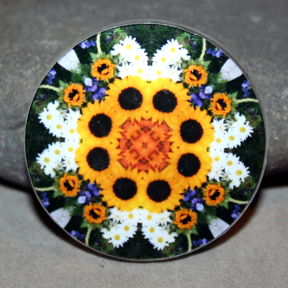 Sunflower Magnet Mandala Sacred Geometry Kaleidoscope Fridge Magnet Perpetual Hope