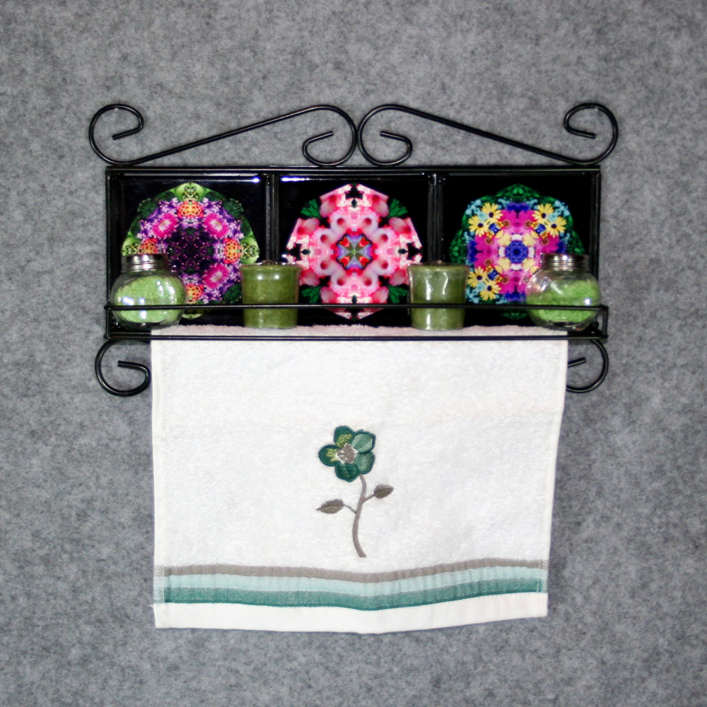 Towel Rack and Shelf with Sacred Geometry Mandala Ceramic Tiles Flowers