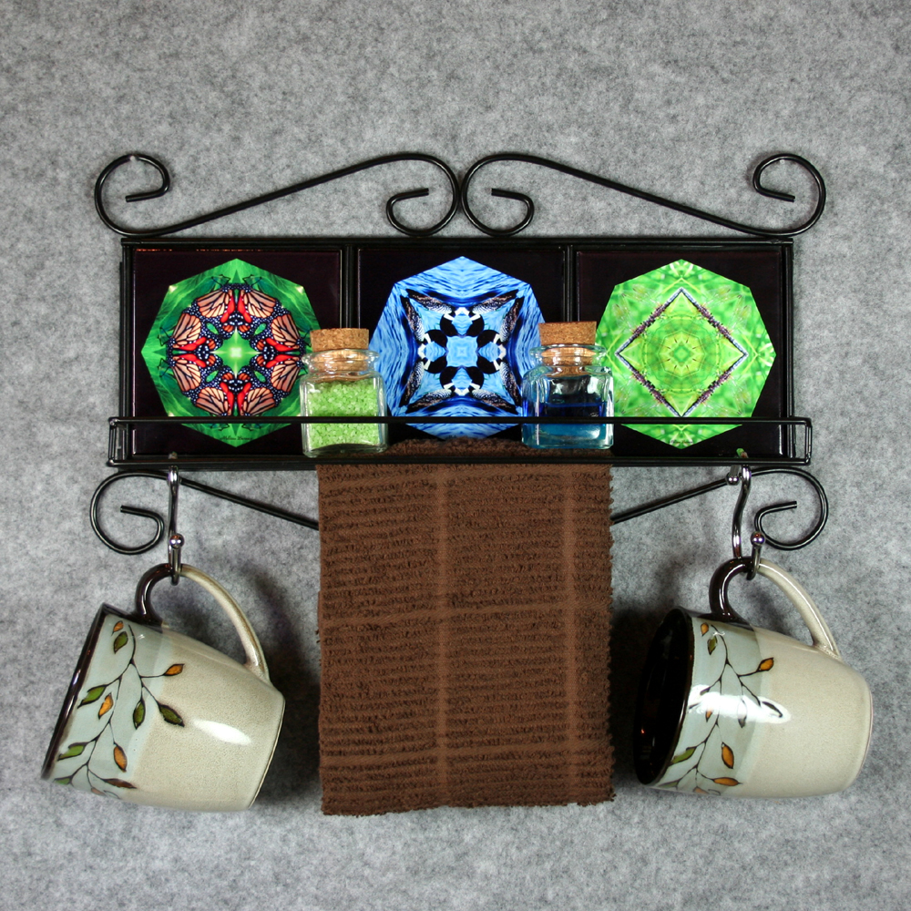 Towel Rack and Shelf with Sacred Geometry Mandala Ceramic Tiles Wildlife 4