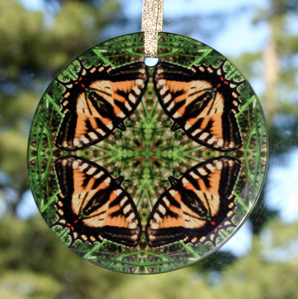 Butterfly Glass Suncatcher Geometric Kaleidoscope mandala Wind Whisperer