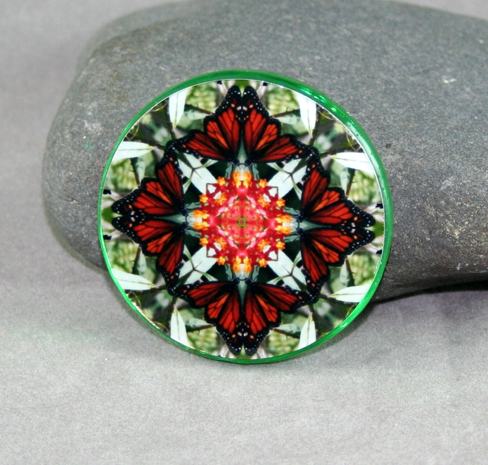 Monarch Butterfly Glass Magnet Mandala Kaleidoscope Geometric Beloved Psyche