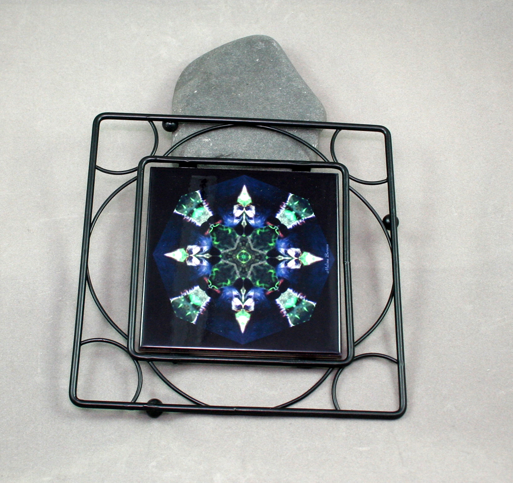 Bear Black Iron Ceramic Tile Trivet Sacred Geometry Mandala Kaleidoscope Black Beauty