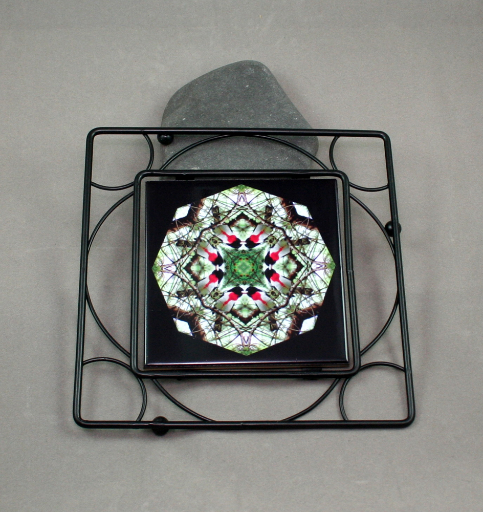 Grosebeak Black Iron Ceramic Tile Trivet Sacred Geometry Mandala Kaleidoscope Bleeding Heart