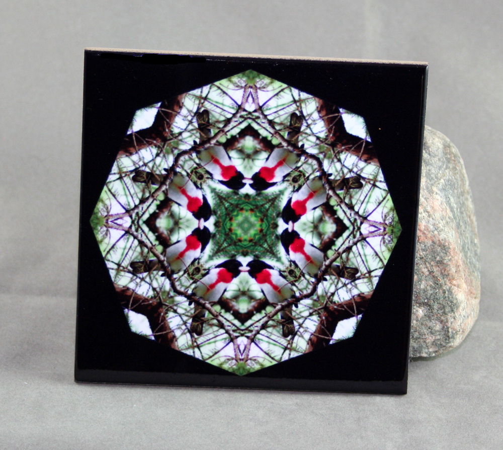Grosbeak Decorative Ceramic Tile Coaster Trivet Kaleidoscope Geometric Bleeding Heart