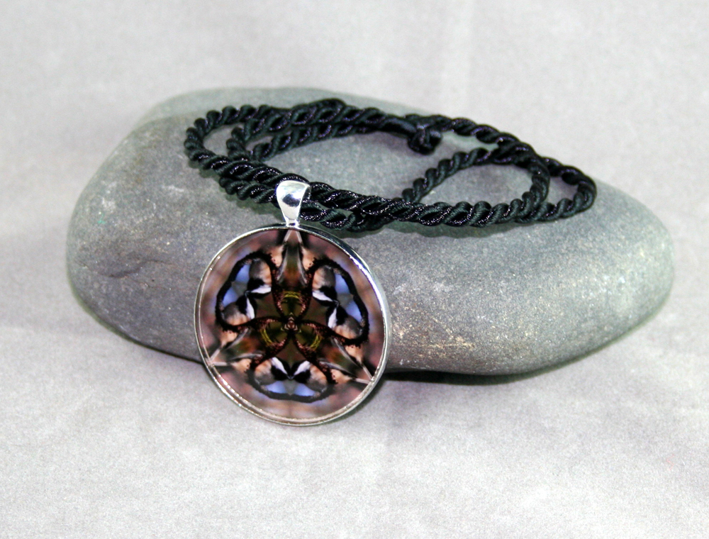 Chickadee Pendant Sacred Geometry Mandala Kaleidoscope Medallion Necklace Chipper Chickadee
