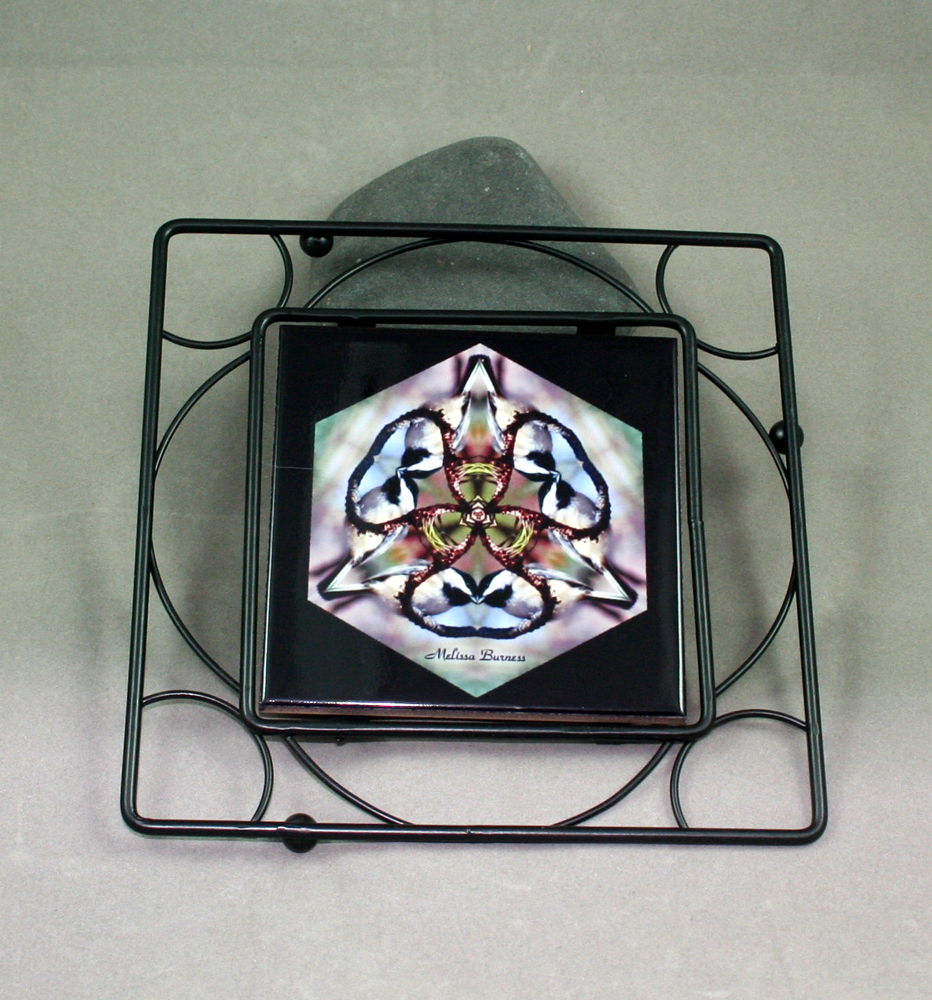 Chickadee Black Iron Ceramic Tile Trivet Sacred Geometry Mandala Kaleidoscope Chipper Chickadee