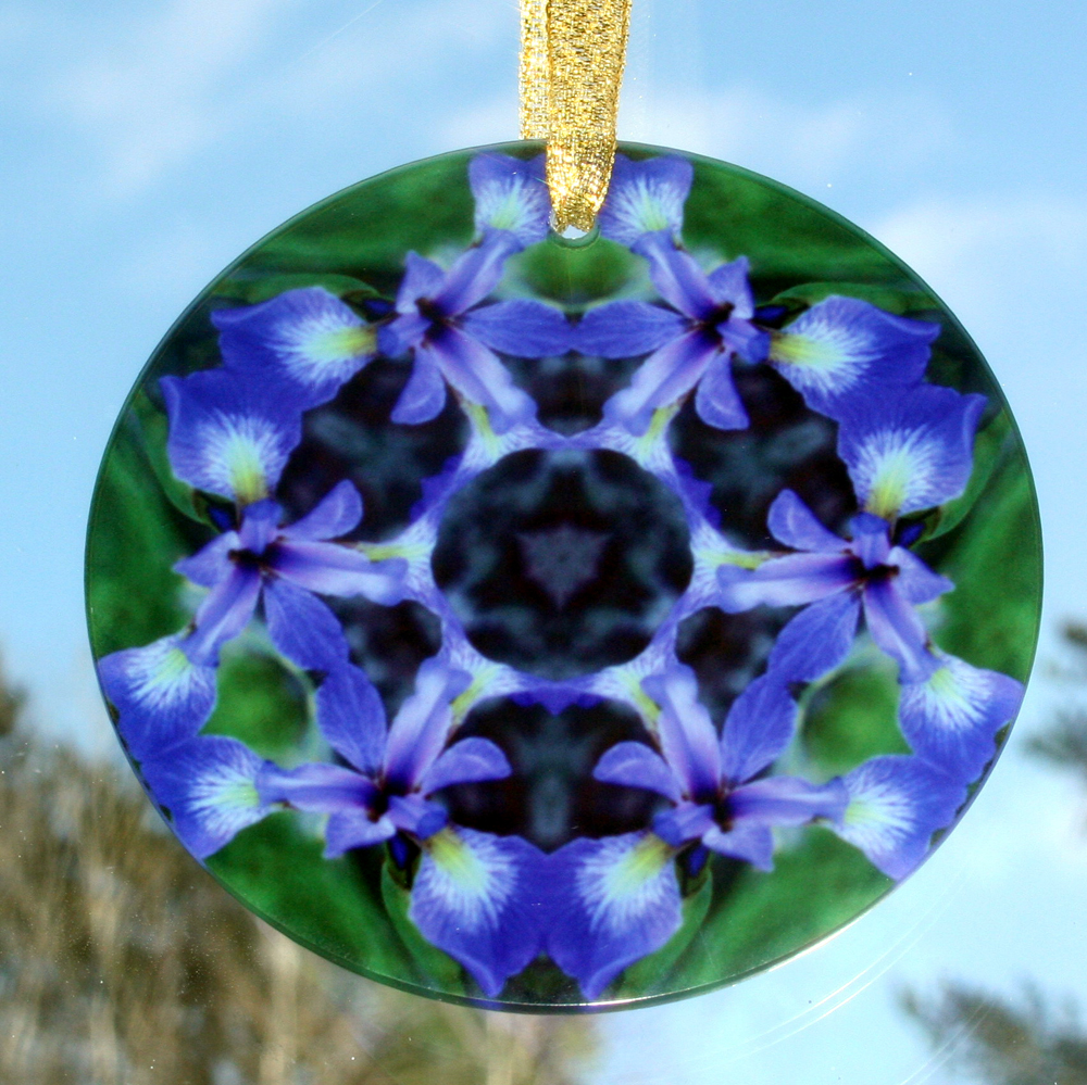 Iris Glass Suncatcher Kaleidoscope Mandala Geometric Circle of Purple