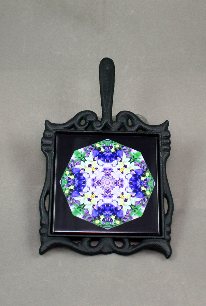Iris Cast Iron Ceramic Tile Trivet Sacred Geometry Mandala Kaleidoscope Eternal Elation
