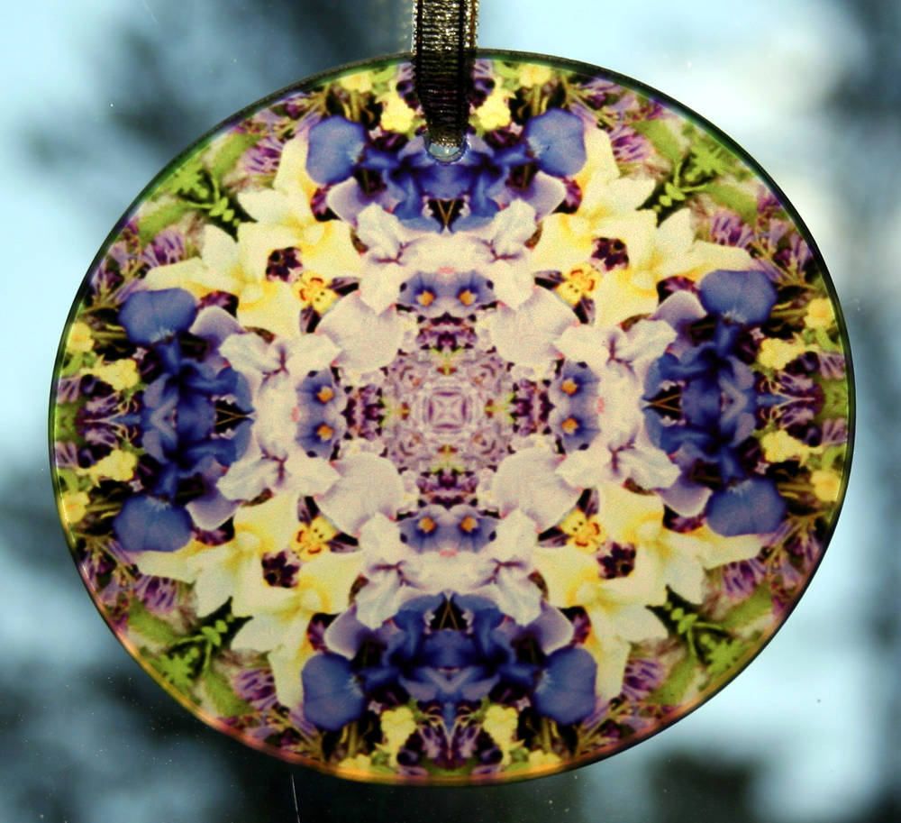Iris Glass Suncatcher Sacred Geometry Mandala Kaleidoscope Eternal Elation