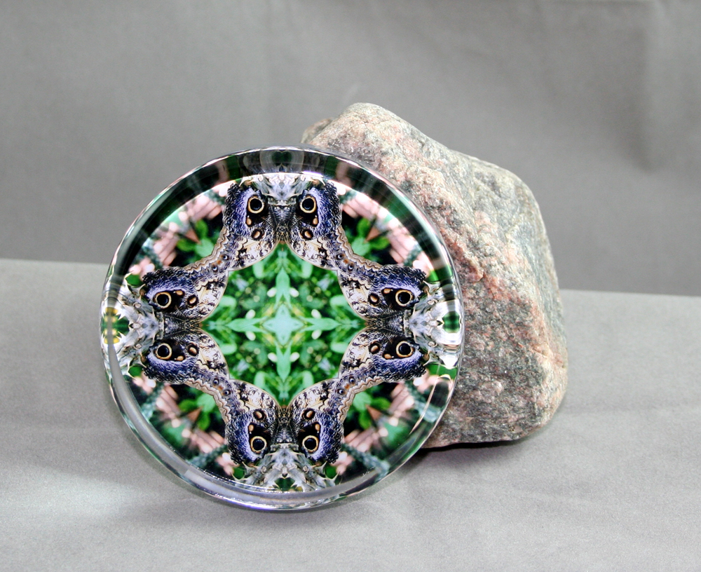 Butterfly Glass Paperweight Kaleidoscope Sacred Geometry Mandala Graceful Gaze