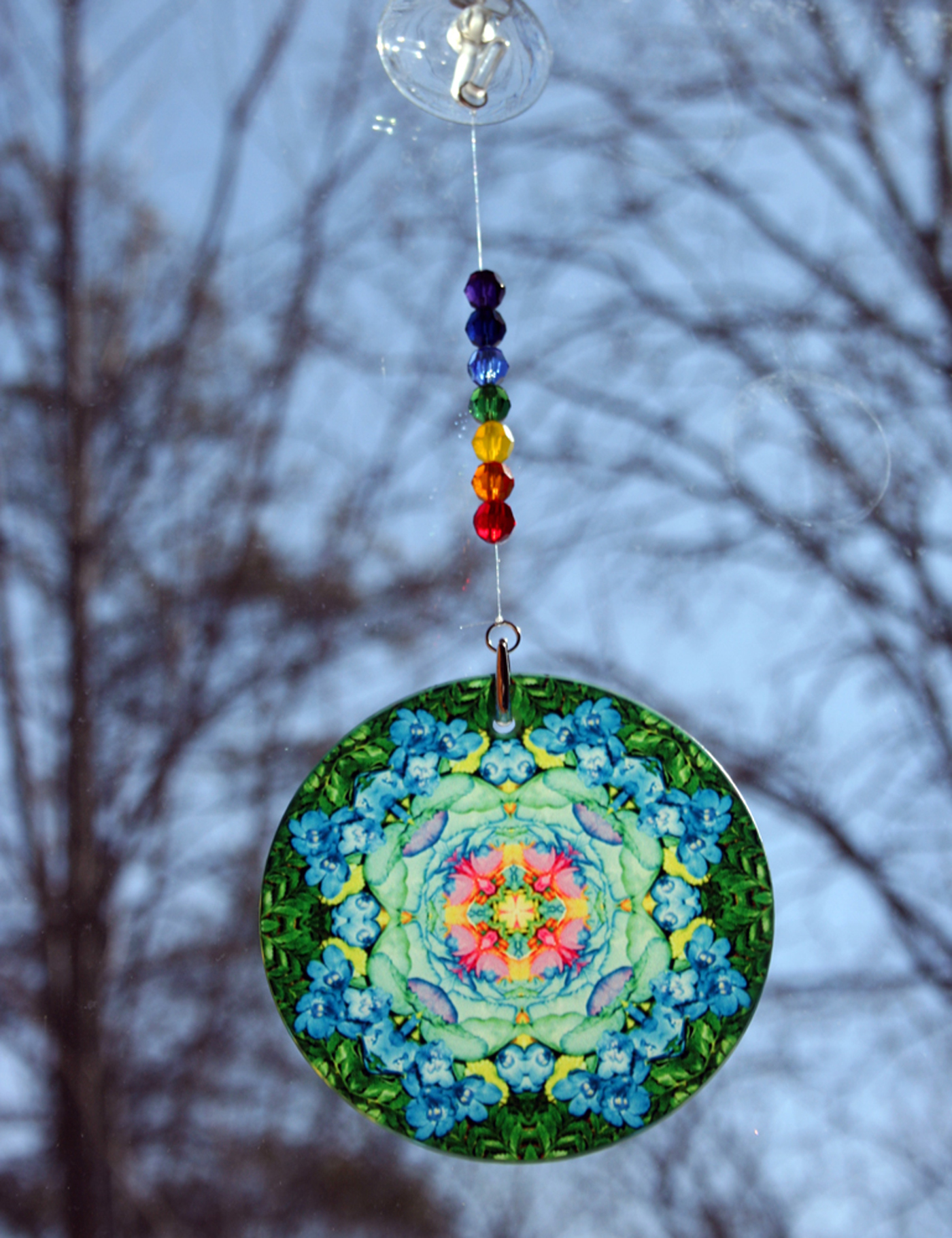Rainbow Rose Chakra Glass Suncatcher Mandala Boho Chic New Age Sacred Geometry Hippie Kaleidoscope Meditation Zen Unique Gift For Her Kaleidoscopic Symphony