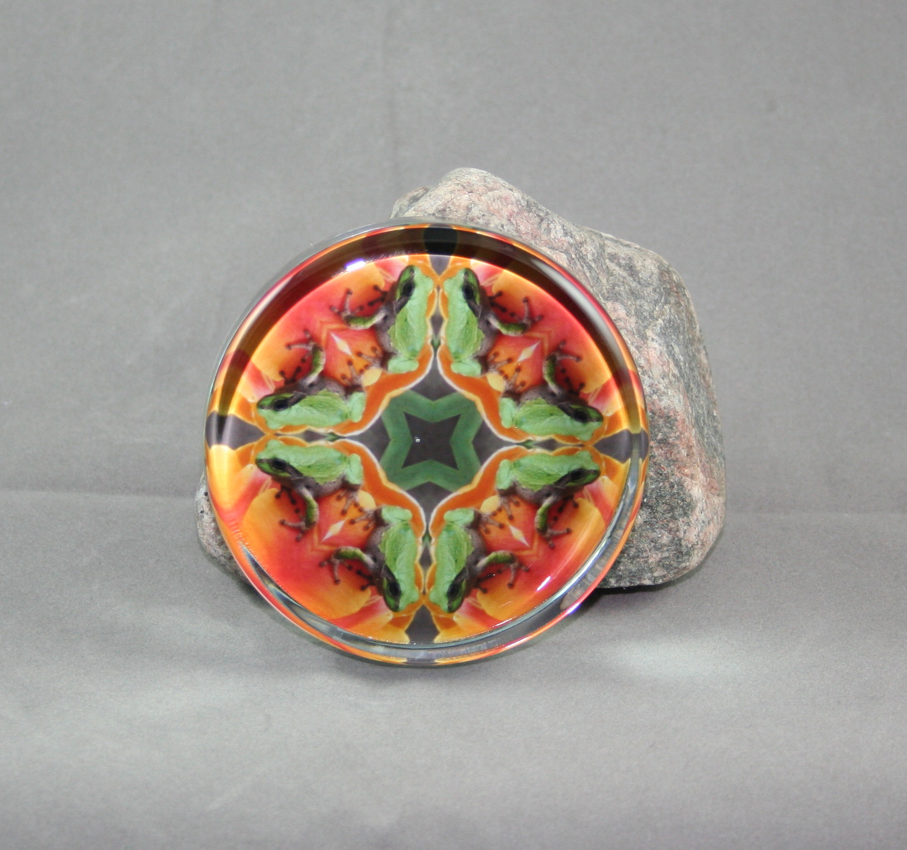 Frog on Tulip Glass Paperweight Sacred Geometry Mandala Kaleidoscope Lucky Charm