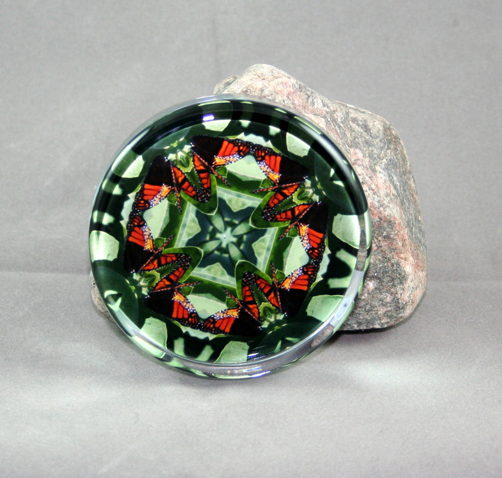 Monarch Butterfly Glass Paperweight mandala Kaleidoscope Monarch Marvel