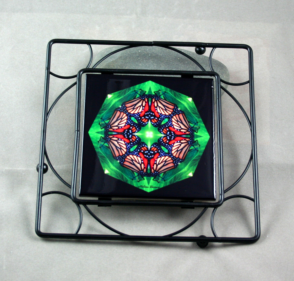 Butterfly Black Iron Ceramic Tile Trivet Sacred Geometry Mandala Kaleidoscope Monarch Melody