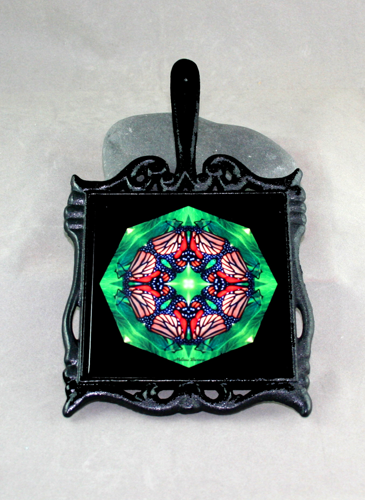 Butterfly Cast Iron Ceramic Tile Trivet Sacred Geometry Mandala Kaleidoscope Monarch Melody