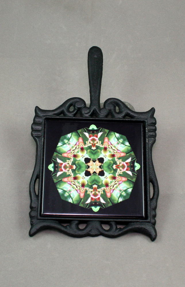 Lady Slipper Cast Iron Ceramic Tile Trivet Sacred Geometry Mandala Kaleidoscope My Hearts Desire