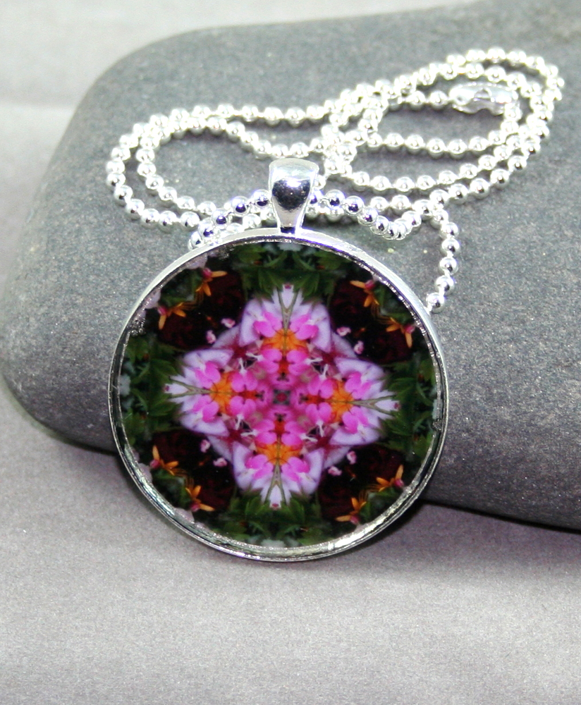 Bleeding Heart Pendant Sacred Geometry Mandala Kaleidoscope Necklace My Love