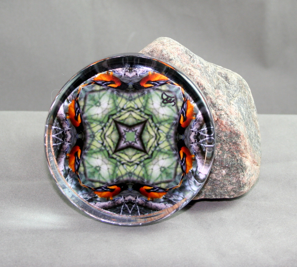Oriole Glass Paperweight Bird Sacred Geometry Mandala Kaleidoscope Orange Crush