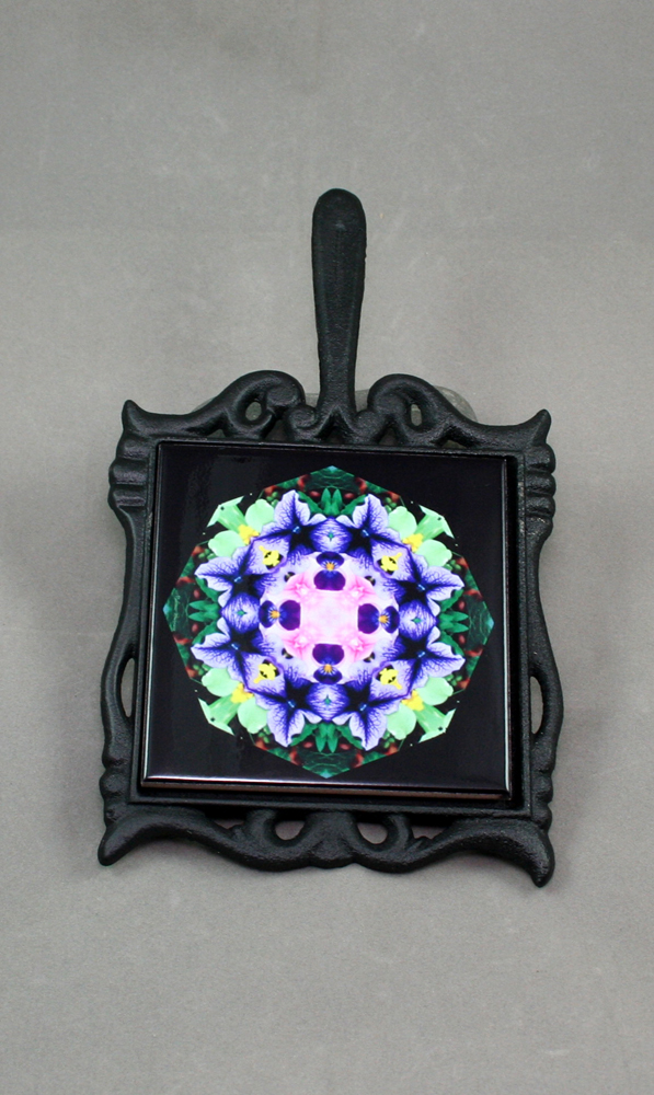 Petunia Carnation Cast Iron Ceramic Tile Trivet Sacred Geometry Mandala Kaleidoscope Purple Passion
