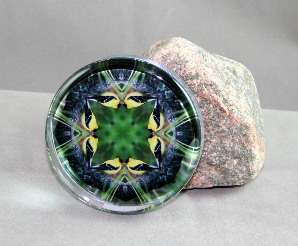 Goldfinch Glass Paperweight Geometric Kaleidoscope Mandala Ring of Gold
