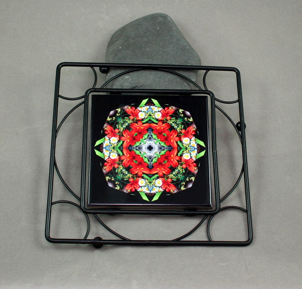 Lily Daisy Black Iron Ceramic Tile Trivet Sacred Geometry Mandala Kaleidoscope Summer Dreams