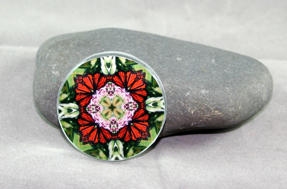 Monarch Butterfly Glass Magnet Mandala Kaleidoscope Geometric Summer Sensation