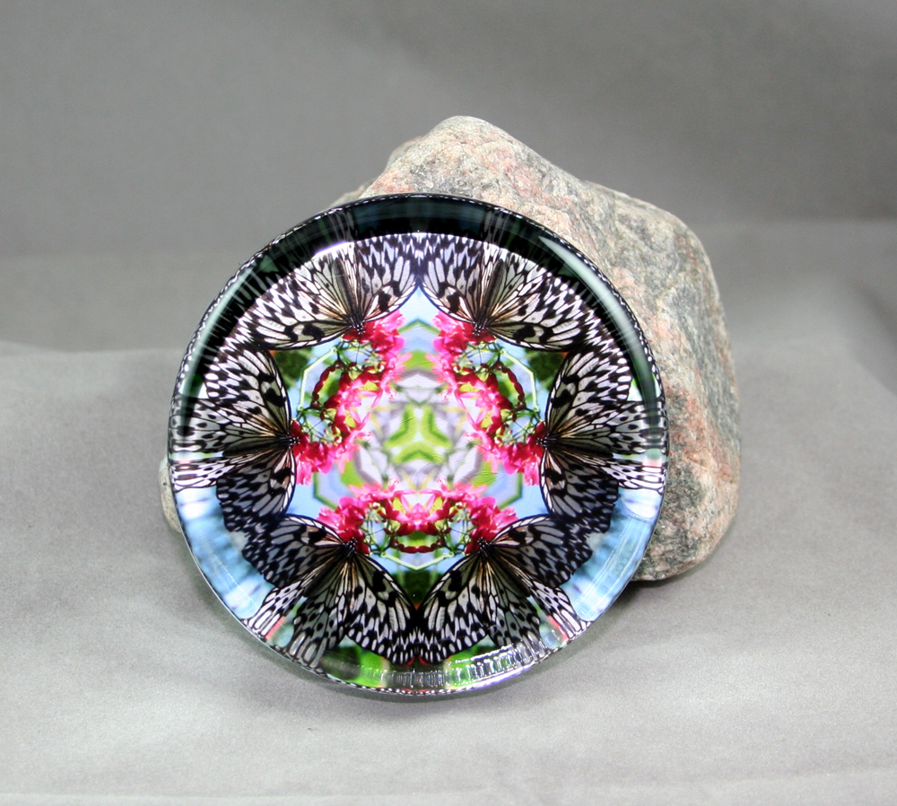 Butterfly Glass Paperweight Kaleidoscope Mandala Sacred Geometry Tropical Treasure