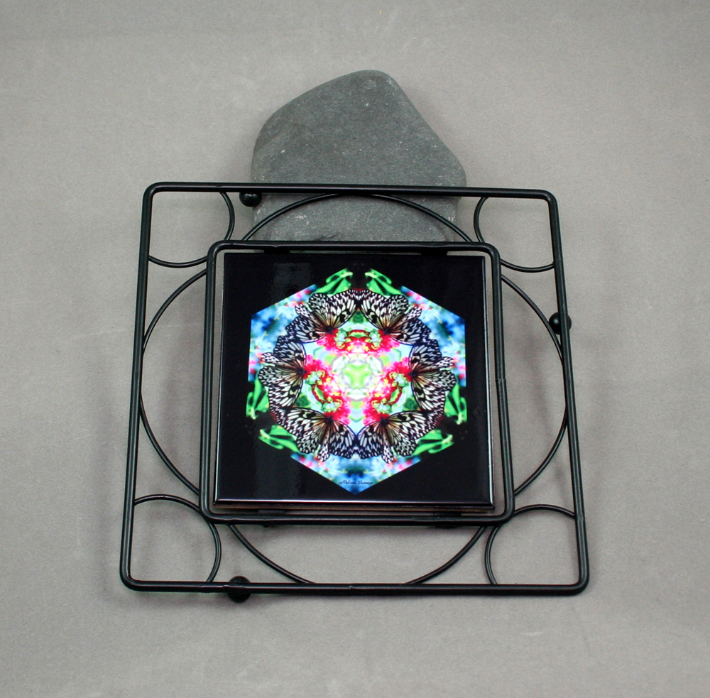 Butterfly Black Iron Ceramic Tile Trivet Sacred Geometry Mandala Kaleidoscope Tropical Treasure