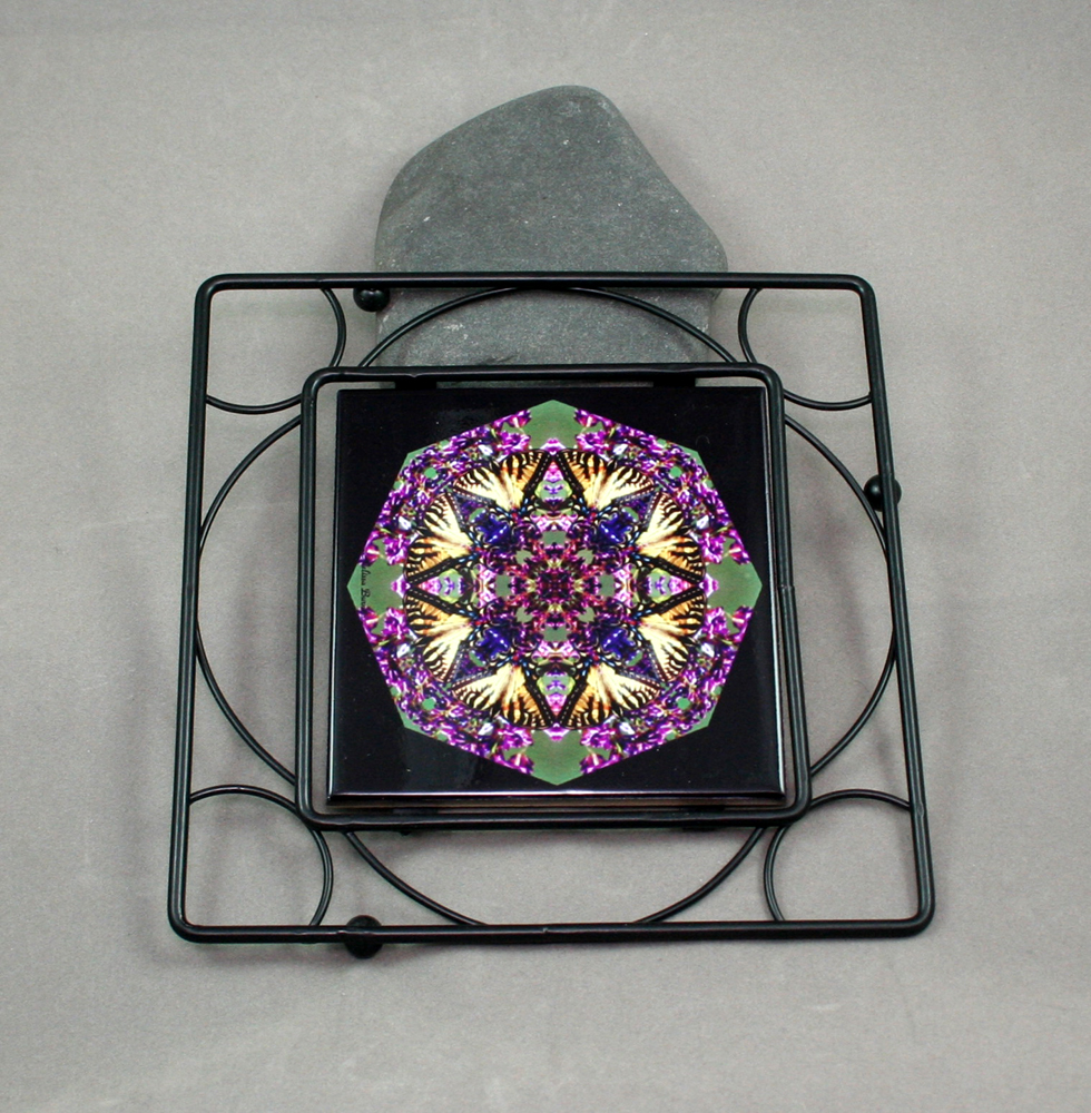 Butterfly Black Iron Ceramic Tile Trivet Sacred Geometry Mandala Kaleidoscope Wafting Spirit