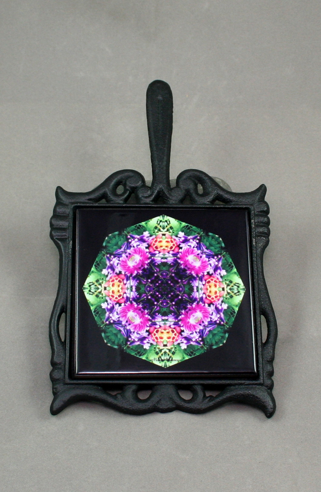 Lilac Columbine Cast Iron Ceramic Tile Trivet Sacred Geometry Mandala Kaleidoscope Wonderfully Wild