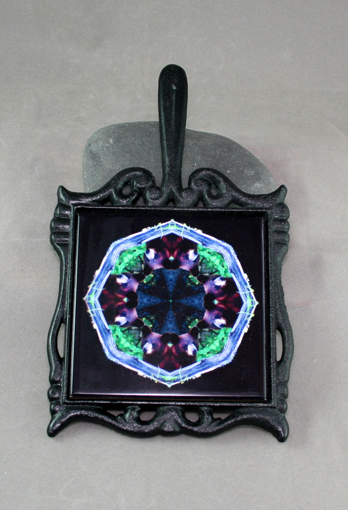 Bear Cast Iron Ceramic Tile Trivet Sacred Geometry Mandala Kaleidoscope Woodland Wanderer