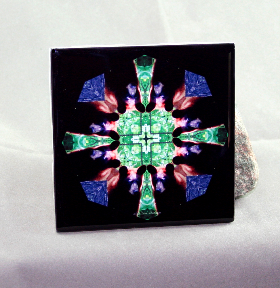 Bear Decorative Ceramic Tile Coaster Sacred Geometry Kaleidoscope Magnanimous