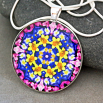 Daffodil Pendant Necklace Boho Chic Mandala New Age Sacred Geometry Kaleidoscope Joyful Jonquils