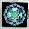 Goldfinch Decorative Ceramic Tile Sacred Geometry Mandala Kaleidoscope Ring of Gold