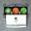 Towel Rack and Shelf with Sacred Geometry Mandala Ceramic Tiles Dragonflies