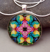 Rainbow Rose Mandala Pendant Amulet Necklace Boho Chic Chakra New Age Sacred Geometry Kaleidoscope Unique Gift For Her Flamboyant Harmony