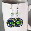 Butterfly Earrings Silver Mandala Sacred Geometry Kaleidoscope Auroras Aria